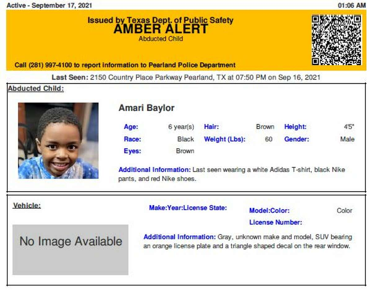 Officials have issued an Amber alert for a 6-year-old boy last seen in Pearland Thursday evening they believe is in grave or immediate danger.