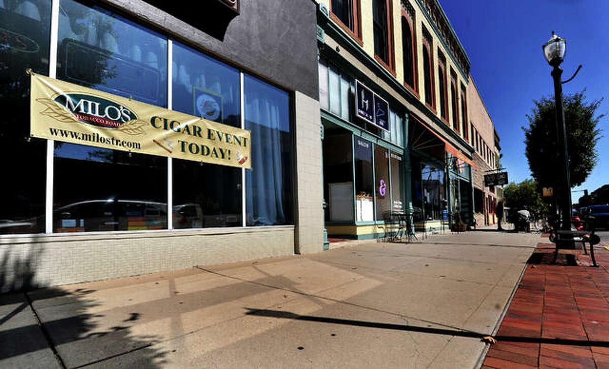 Storefronts along Main Street Thursday in Edwardsville.