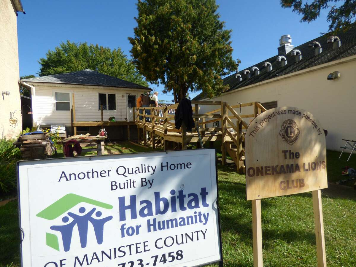 The Onekama Lions Club and Manistee County Habitat for Humanity partnered on the construction of a universally-accessible ramp for an Onekama resident.