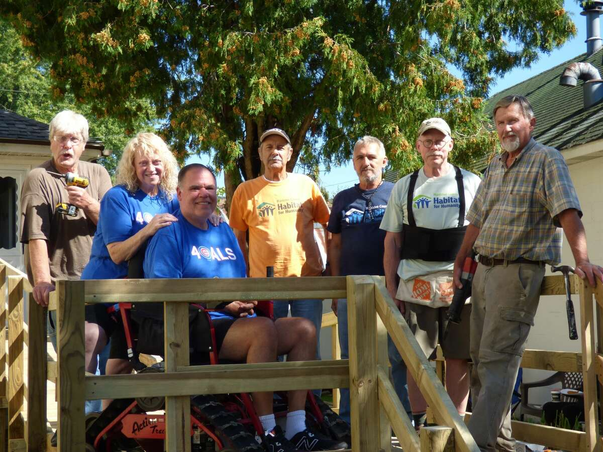 Manistee County Habitat for Humanity volunteers designed and built a ramp at the home of Patrick and Valerie Harmon, in Onekama.