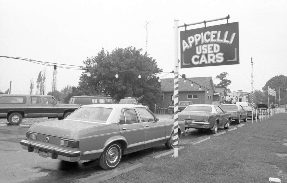 This photo shows a view of Appicelli Used Cars in Parkdale in September 1981. (Manistee County Historical Museum photo)