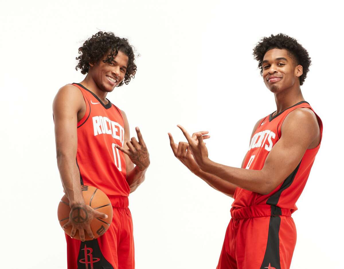 First-round picks Jalen Green (left) and Josh Christopher have Rockets fans excited about the future. If the team had held on to James Harden, these two wouldn't be in Rockets' gear, but the current team obviously would be better. But, what about the future?