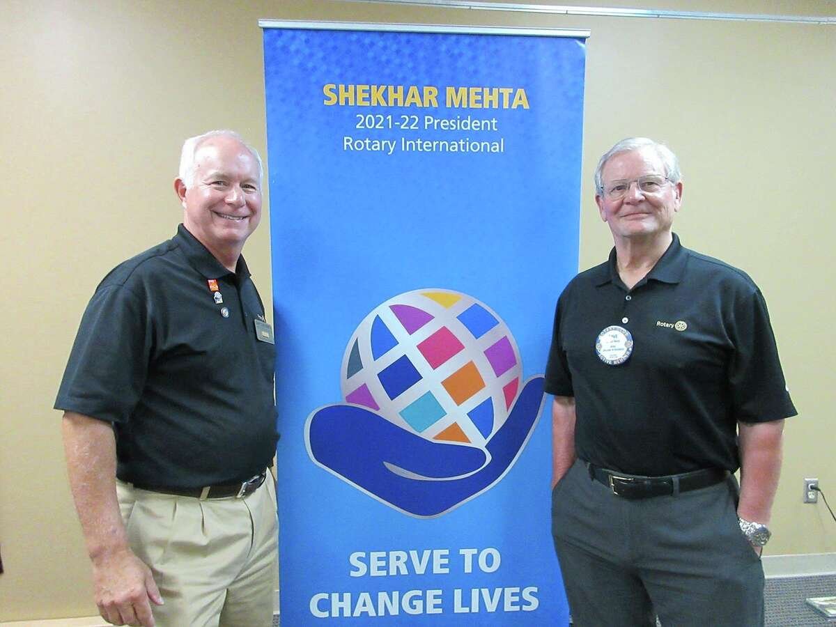 GaryChenoweth,District 6290's new governor, (left) is pictured with David Nicol (right), president ofRotary Club of Big Rapids. (Courtesy photo)
