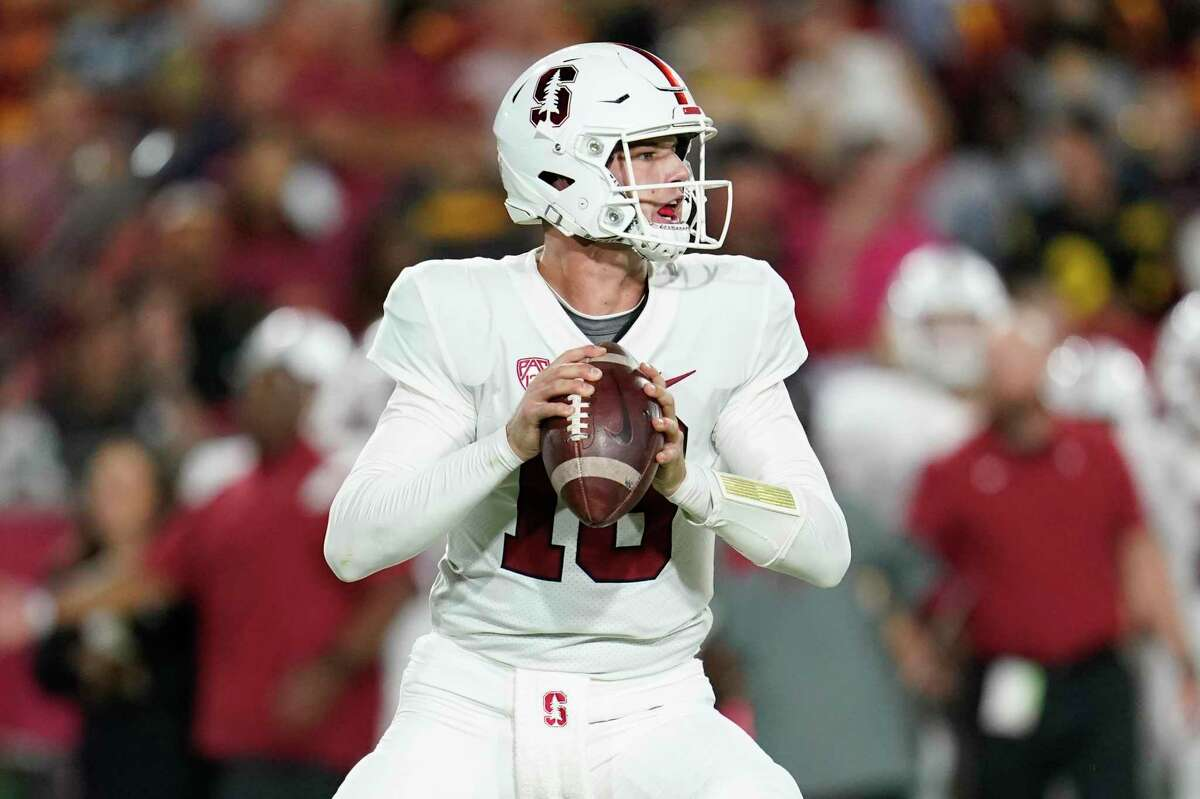 Stanford quarterback Tanner McKee prepares to throw during an NCAA college football game against Southern California Saturday, Sept. 11, 2021, in Los Angeles. (AP Photo/Marcio Jose Sanchez)