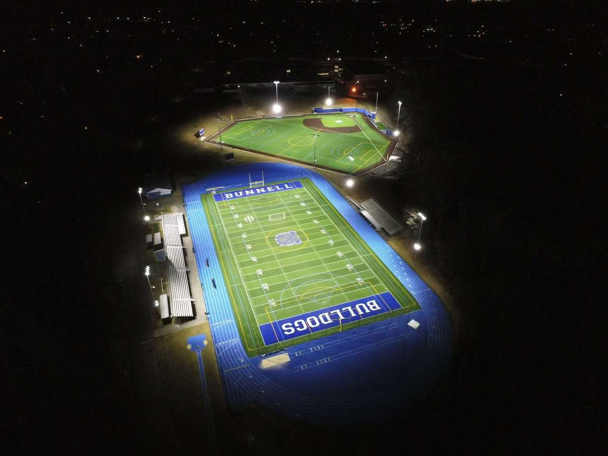The remodeled Bob Mastroni Field at Bunnell High School in Stratford, Conn. Also pictured is the new artificial surface baseball and multi-purpose field. January, 2021