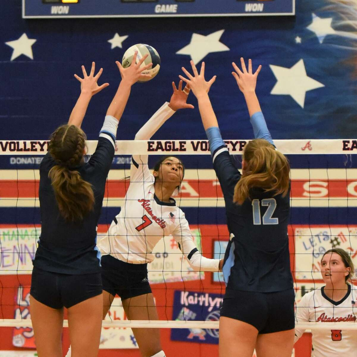 Atascocita's Brooke Williams goes up for a kill against Kingwood in a District 21-6A match at the Atascocita gym.