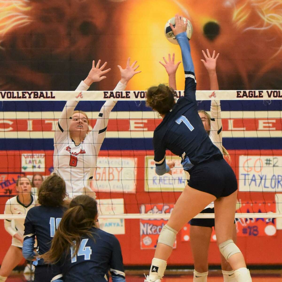 Kingwood's Emma Montes goes for a kill in a District 21-6A match against Atascocita.