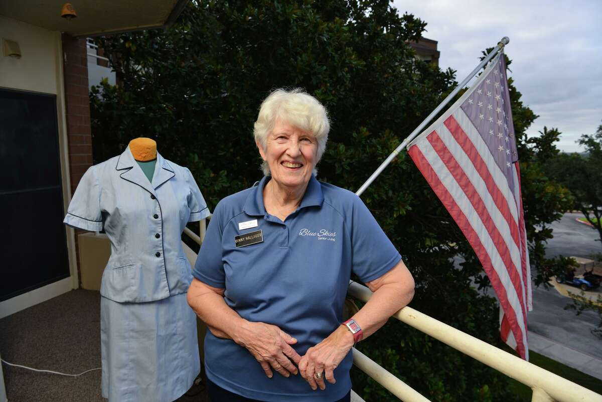 Ginny Hallager was one of 43 cadets in a Navy Officer Candidate School-W class. An original uniform from that 1964 training is at left.