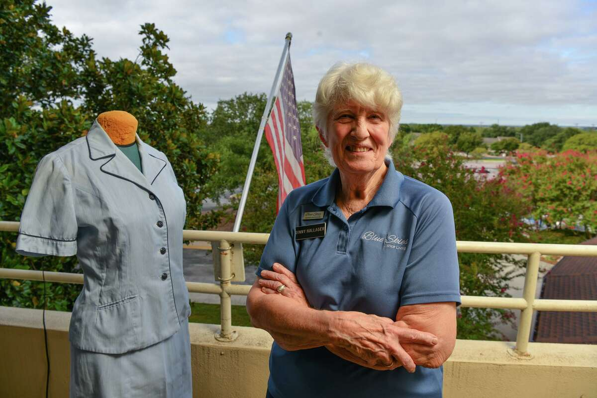 Ginny Hallager was one of 43 cadets in a Navy Officer Candidate School-W class in Newport, R.I.. An original uniform from that 1964 training is at left.
