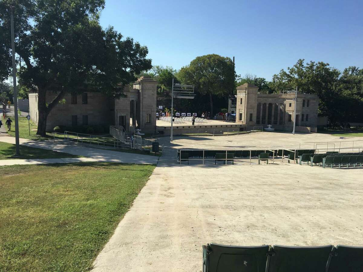 The 91-year-old Sunken Garden Theater, now in a state of decline, would be renovated and enlarged, with seating for more than 7,000 people and construction of a massive timber-frame roof. In the past, the theater has seated about 880, but only a few hundred seat still remain in the outdoor venue.