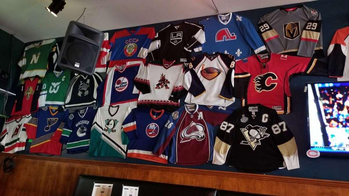 Inside the Angry Beaver, the city's premier hockey bar.