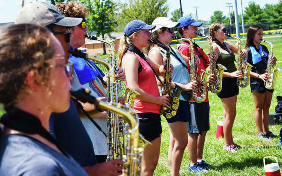 The Edwardsville High School Marching Tigers practice.