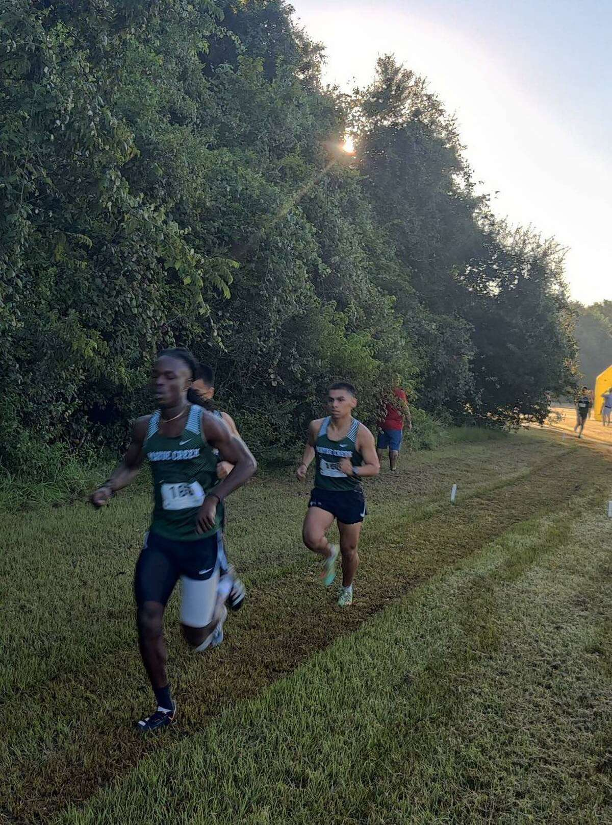 Mayde Creek's David Livingston won the five-kilometer varsity race with a time of 16 minutes, 52.8 seconds, followed by teammates Carlos Barrera, Christian Barrera, Anthony Perez and Sam Torres for the team victory at the Mayde Creek XC Invite.