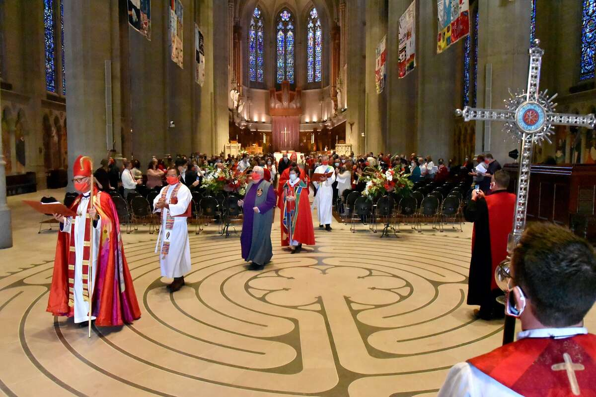 Reverend Megan Rohrer at a ceremony at Grace Cathedral in San Francisco.