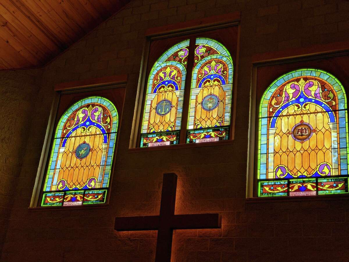 The windows in the Freeland United Methodist Church. The current church, built in 2001 and the windows were taken from the church built in 1919. The congregations stood firm to have the windows included.