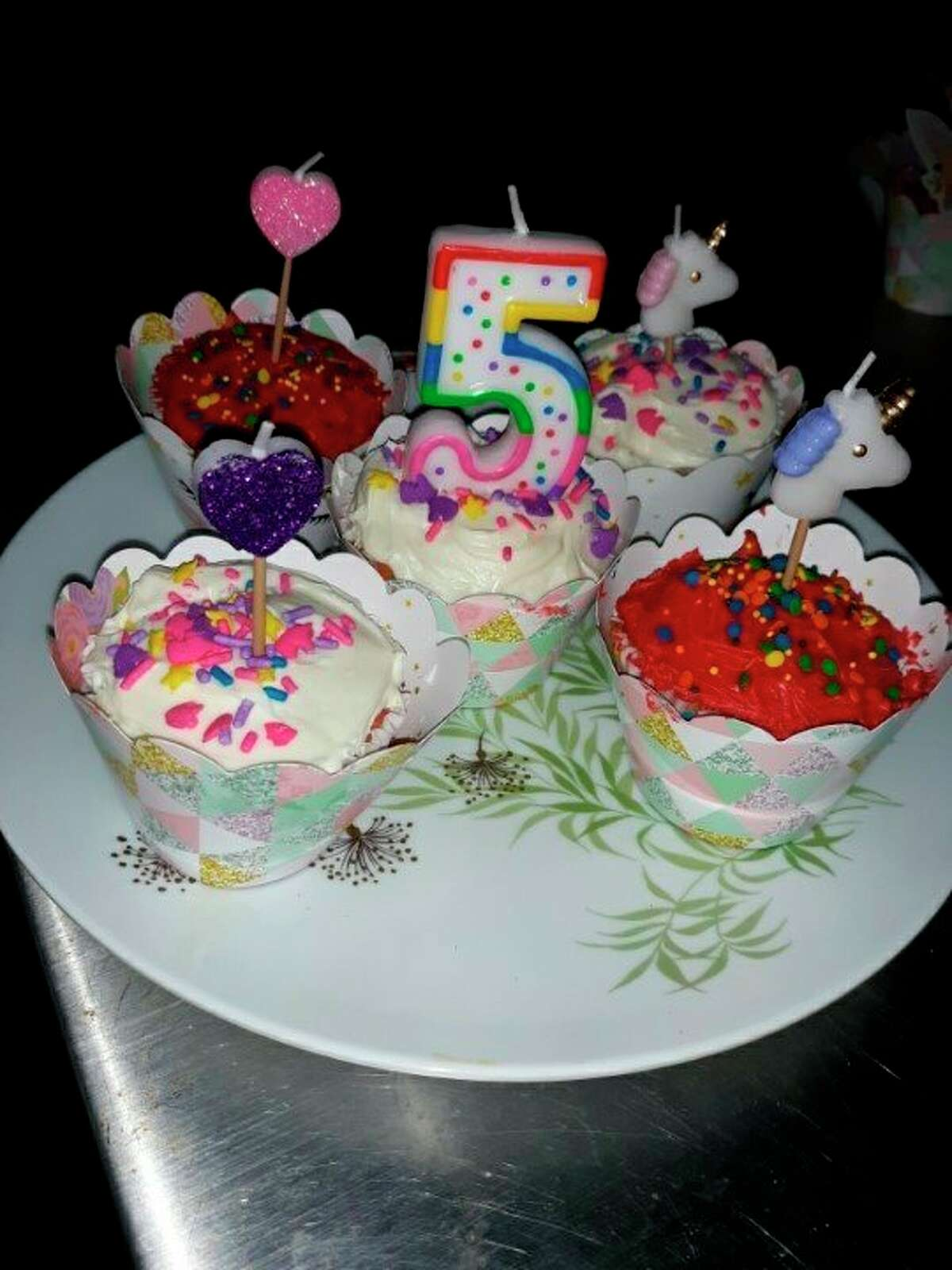 Colorful cupcakes to celebrate Abigail's fifth birthday. (Courtesy photo)