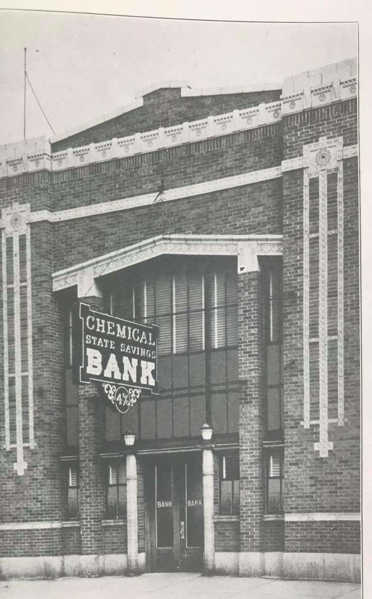 Chemical State Savings Bank, organized in 1917, as it appeared in the November 1926 Midland Sun special section portraying the City of Midland. Its assets as of June 30, 1926, were listed as $1,275,308.27. C.H. Macomber was president; E.W. Bennett, vice president; L.A. Chichester, cashier; H. LeRoy Durbin and Guy Rogers, assistant cashiers. Directors were E.O. Barstow, Gilbert A. Currie, Thomas Griswold Jr. and James T. Pardee