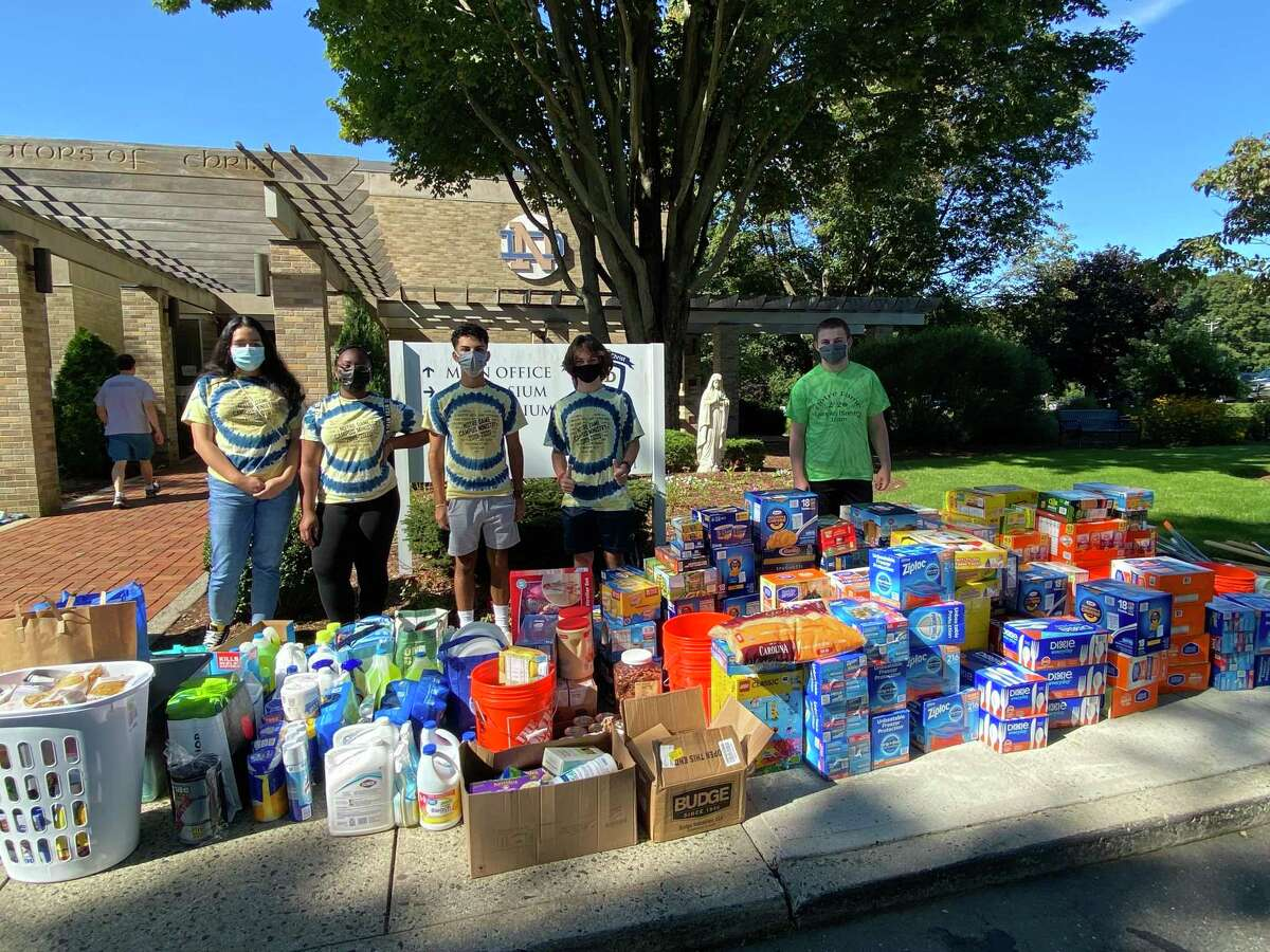 Notre Dame High School in Fairfield collected donations to benefit a school affected by Hurricane Ida in Louisiana.
