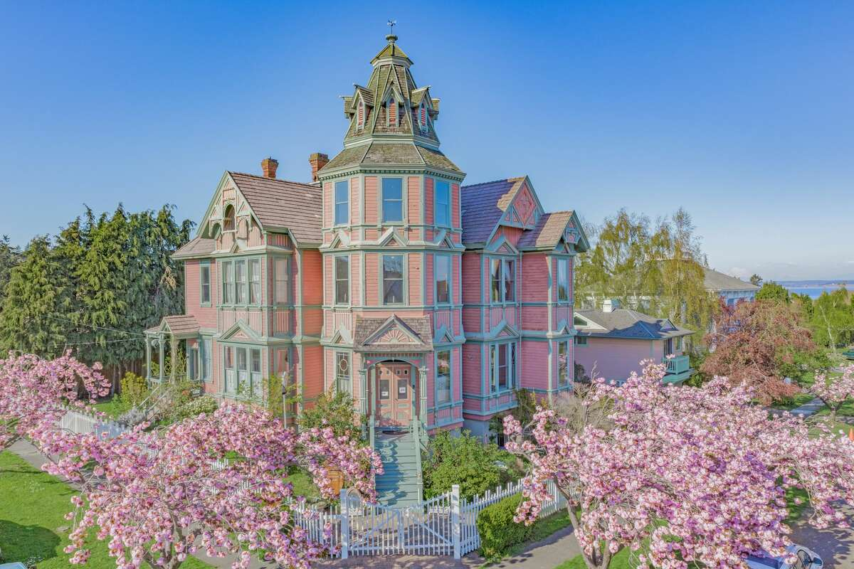 The mansion is 5,796 square feet on a corner lot very close to the Port Townsend Bay.
