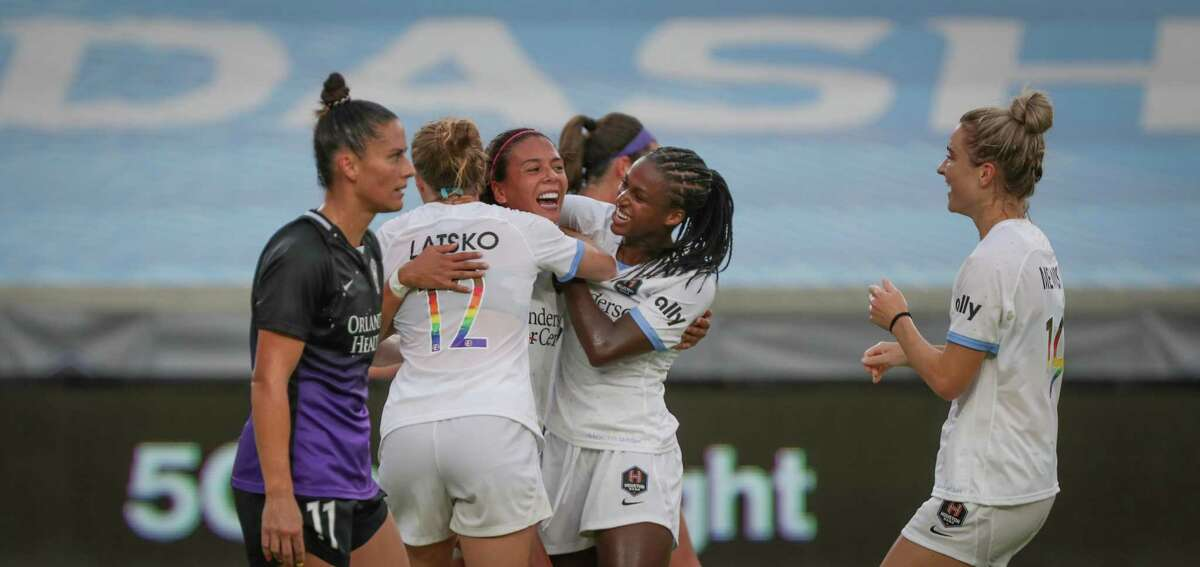 In June, María Sánchez, center, celebrates a goal while playing for the Dash. She'll be on the other side in an international friendly on Sunday.