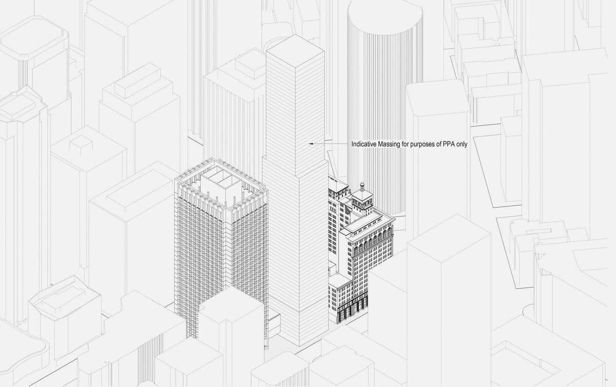 An architectural massing diagram shows the plan for the residential tower at 50 Main St.