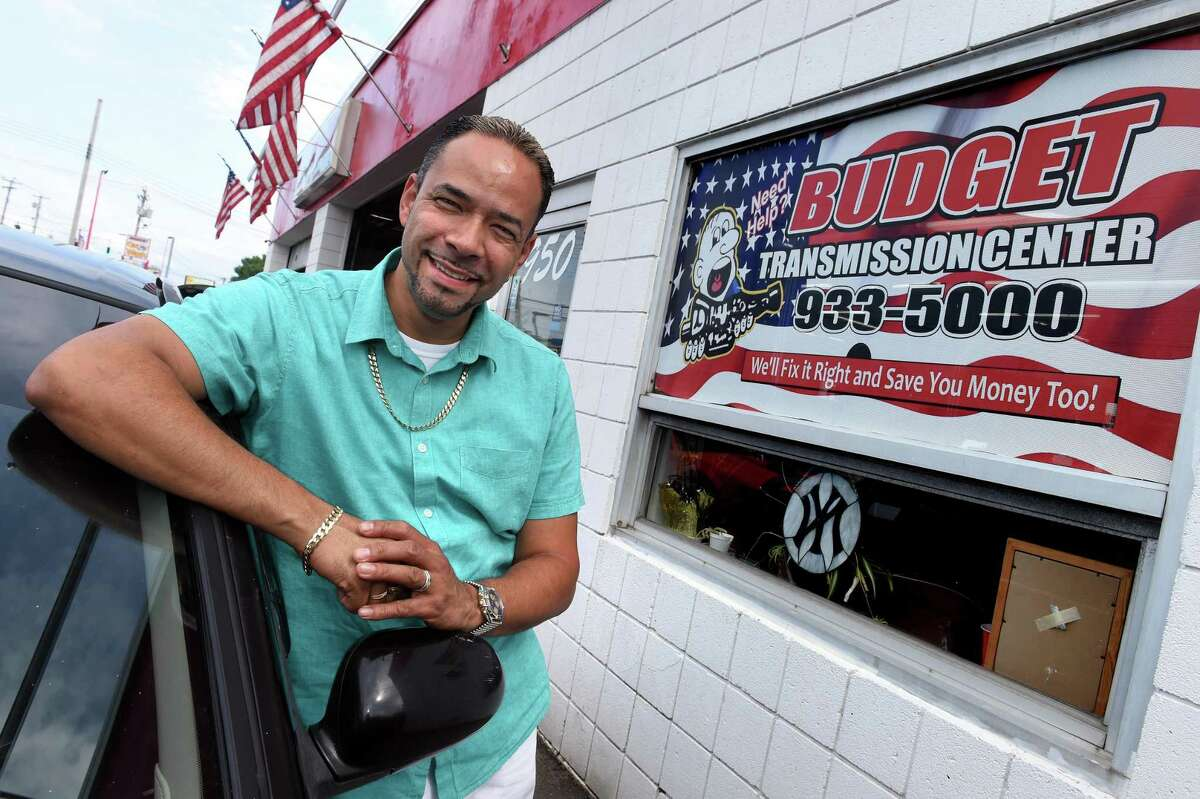 Sammy Rivera, owner of Budget Transmission Center, is photographed in front of his business on Boston Post Road in West Haven Sept. 17, 2021.