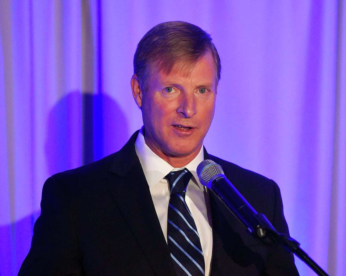 Bruce McGuire, co-founder of the Greenwich Economic Forum and president of the Connecticut Hedge Fund Association, speaks at the Greenwich Economic Forum at the Delamar hotel in Greenwich, Conn., on Nov. 15, 2018.