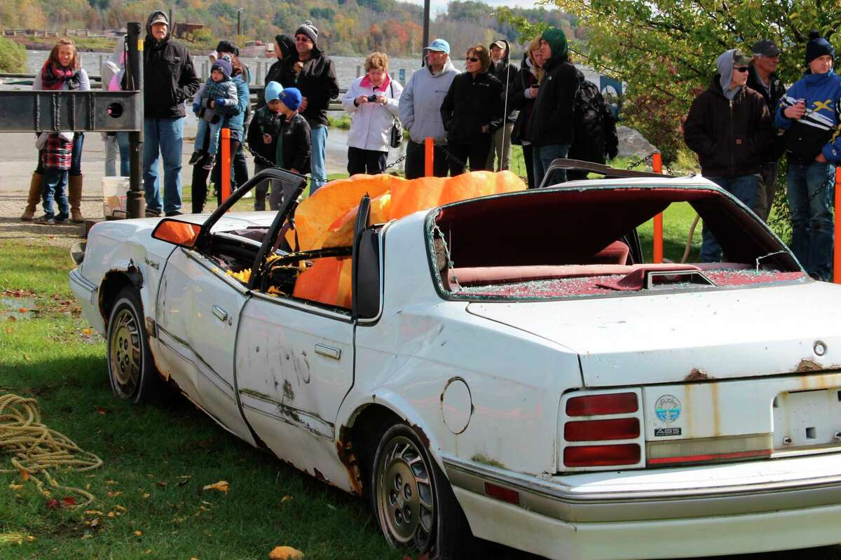 Frankfort's weekend of Fall Fest has, in the past, included a pumpkin drop, where a giant pumpkin is dropped on a car. (File Photo)