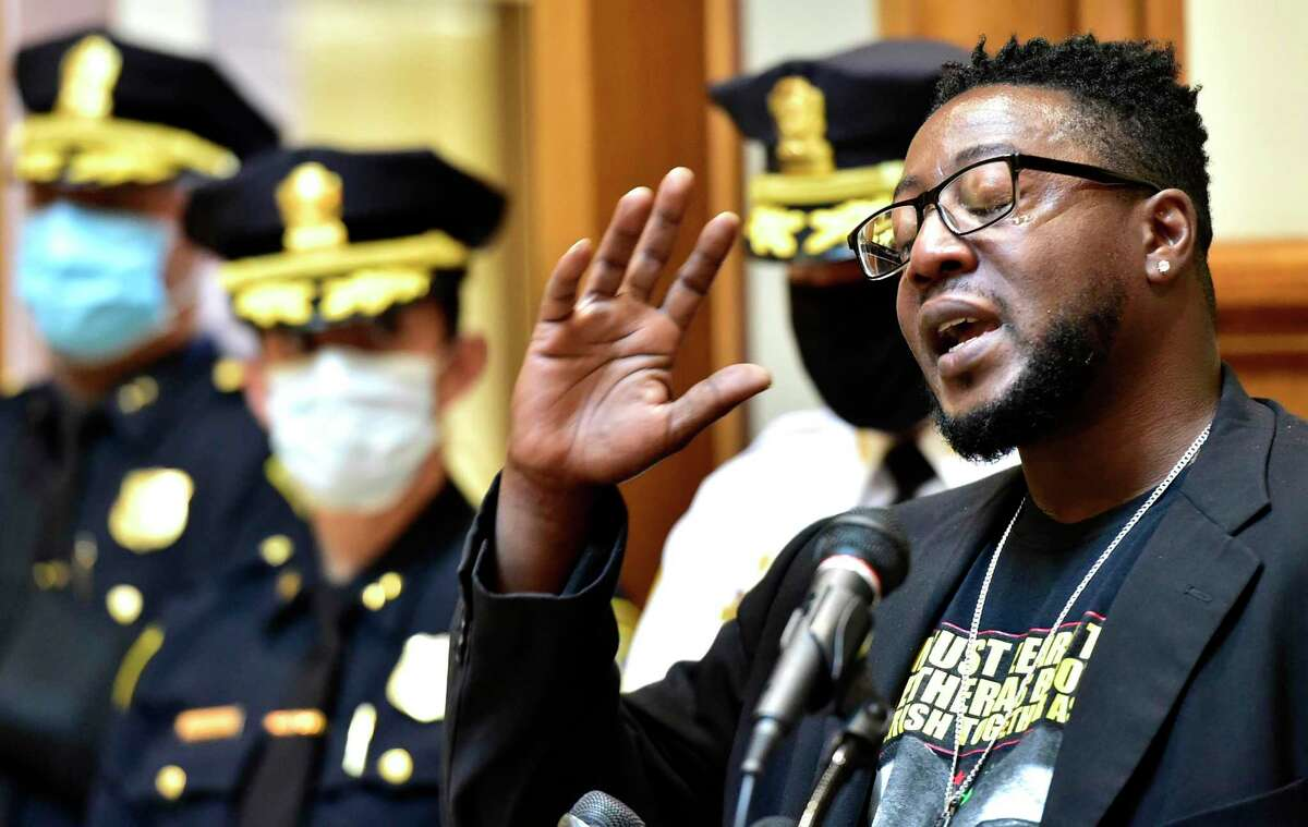 Chaz Carmon, of Ice The Beef of New Haven, with tears in his eyes, emotionally expresses grief over homicides in New Haven in 2020. He spokes at City Hall as then New Haven Police Chief Otoniel Reyes and New Haven Mayor Justin Elicker comment on plans to address the violent crime in the city.