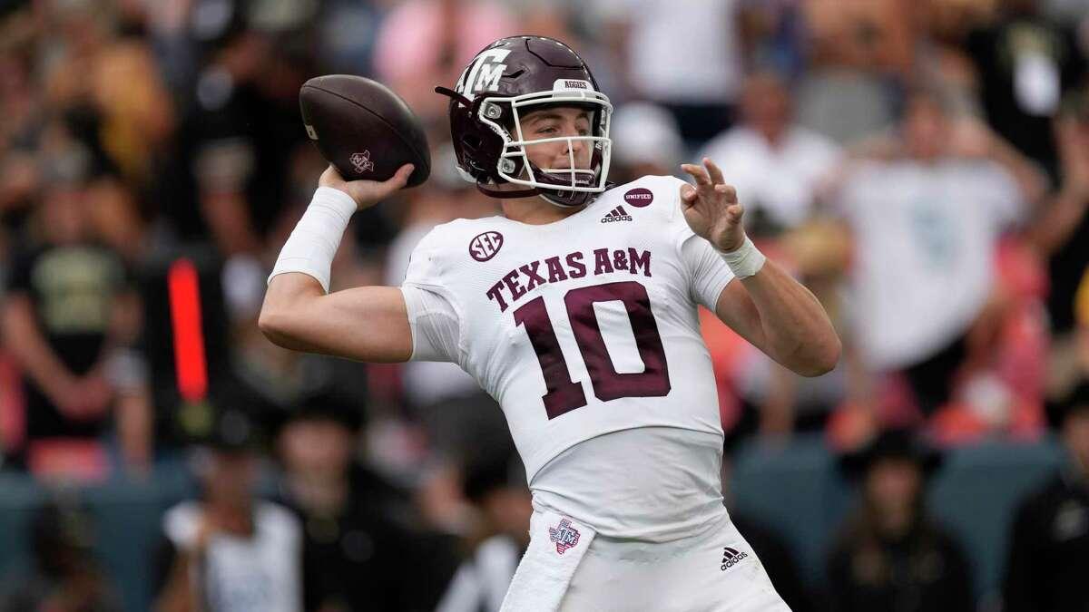 Texas A&M quarterback Zach Calzada (10) in the first half of an NCAA college football game Saturday, Sept. 11, 2021, in Denver. (AP Photo/David Zalubowski)