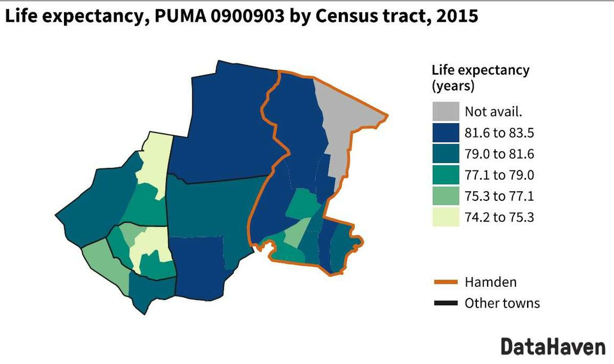 A map from DataHaven's 2021 equity profile showing average life expectancy in Hamden and other nearby towns. Neighborhoods in southern Hamden tend to have higher proportions of residents of color than in northern Hamden.