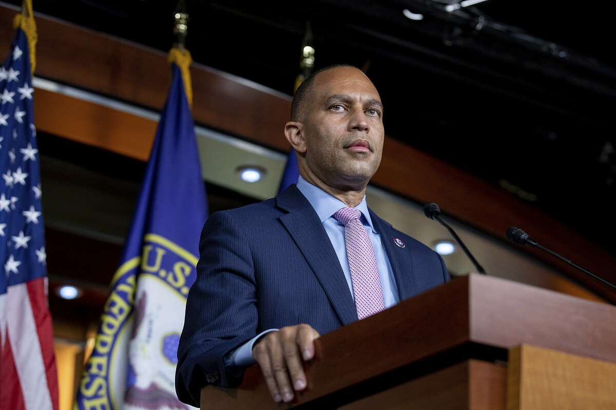 Rep. Hakeem Jeffries, D-N.Y., speaks to members of the media during a news conference on Capitol Hill in Washington, on Tuesday, Aug. 24, 2021. (AP Photo/Amanda Andrade-Rhoades)