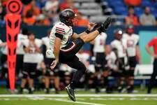 Lamar kicker Bailey Giffen (47) during the first half of an NCAA college football game against UTSA , Saturday, Sept. 11, 2021, in San Antonio. (AP Photo/Eric Gay)