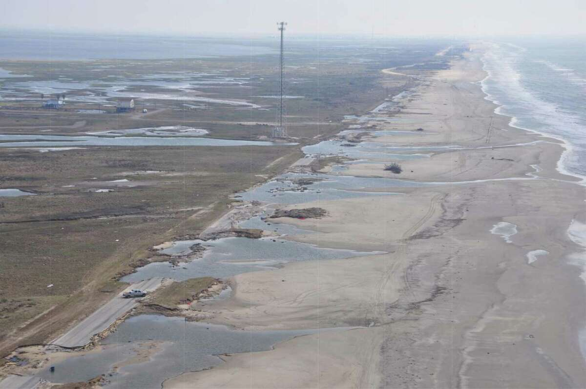 The Bluewater Highway along the Bolivar coast following Hurricane Ike.