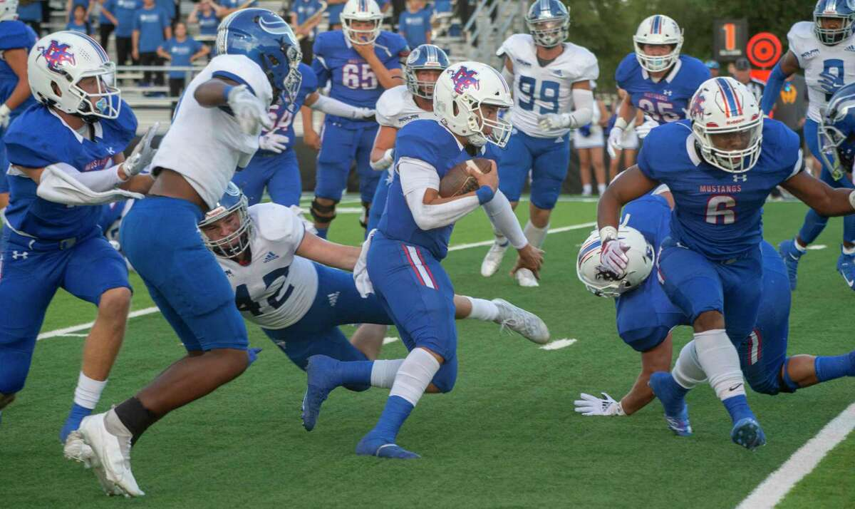 Midland Christian's Ryver Rodriguez looks for room to run as they battle FW Nolan 09/17/2021 at Gordon Awtry Field. Tim Fischer/Reporter-Telegram