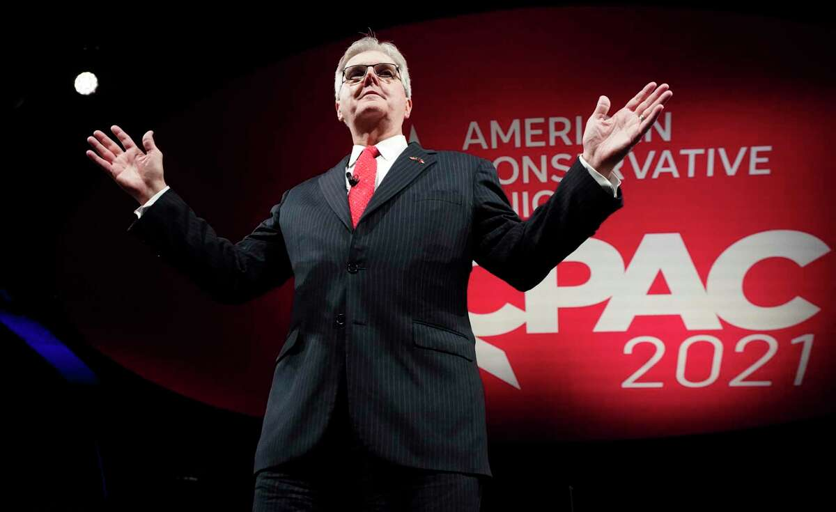 In this July 9, 2021, Texas Lt. Gov. Dan Patrick speaks during opening general session of the Conservative Political Action Conference in Dallas.