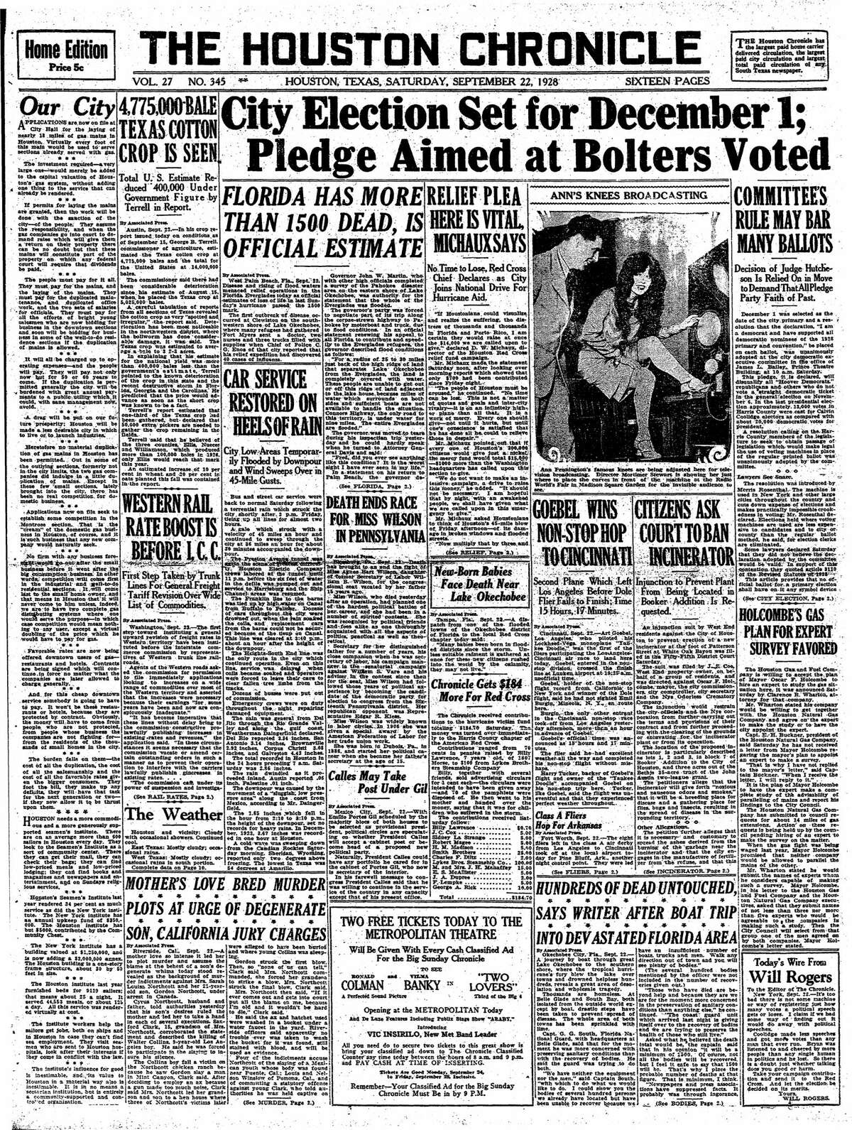 Houston Chronicle front page from Sept. 22, 1928.