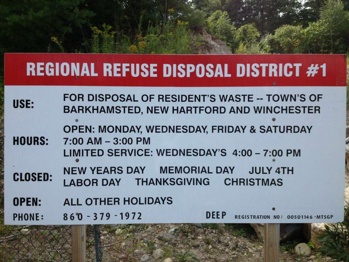 The sign at Regional Refuse District No. 1 in New Hartford.