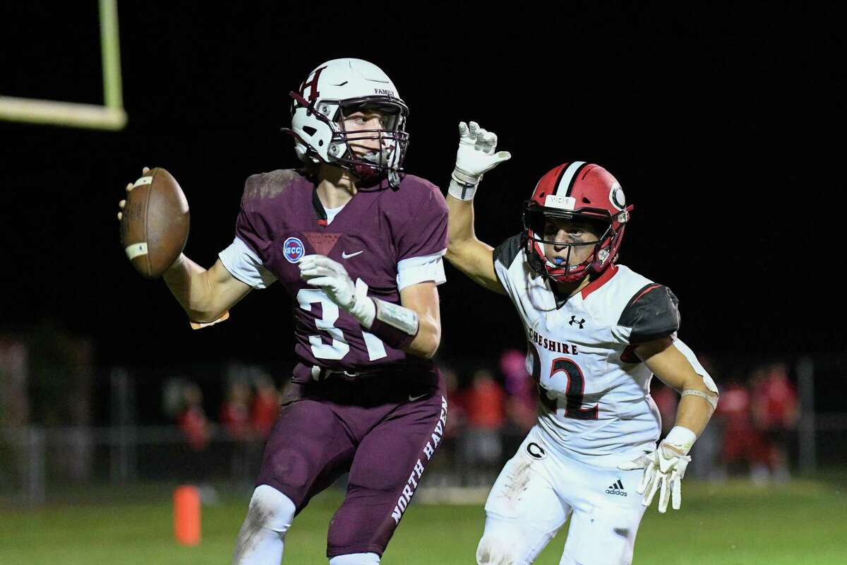 Football action between Cheshire High School and North Haven High School Friday night, September 17, 2021 at Vanacore Field in North Haven.