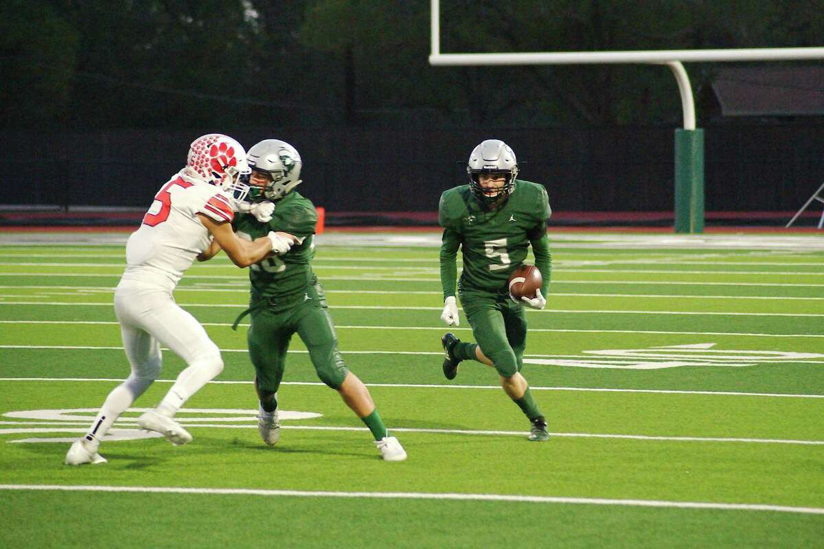 Lutheran South Academy's Joel Hutchins (5), shown in action last year, caught eight passes for 174 yards and three touchdowns Friday night to help lead the Pioneers to an easy win over Tomball Concordia Lutheran.