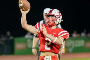 Guilderland quarterback Ty Santabarbara looks for a receiver against Shenendehowa during a Class AA matchup at Guilderland High School on Friday, Sept. 17, 2021. (Jim Franco/Special to the Times Union)