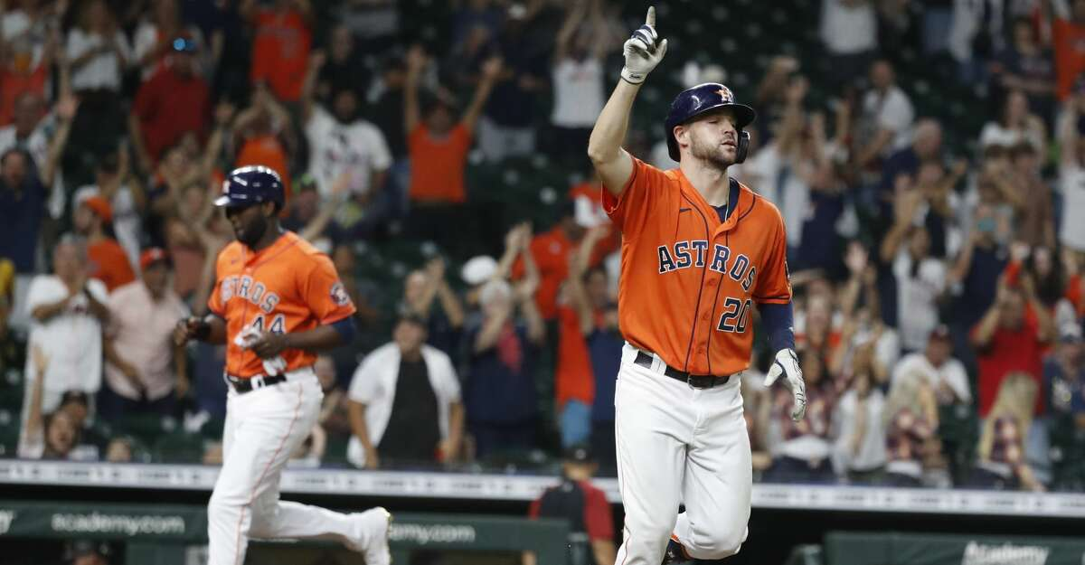 Houston Astros Chas McCormick (20) reacts after being hit by a pitch from Arizona Diamondbacks relief pitcher Tyler Clippard (36) with the bases loaded which scored the winning run, Yordan Alvarez during the tenth inning of an MLB baseball game at Minute Maid Park, Friday, September 17, 2021, in Houston. Astros won 4-3.