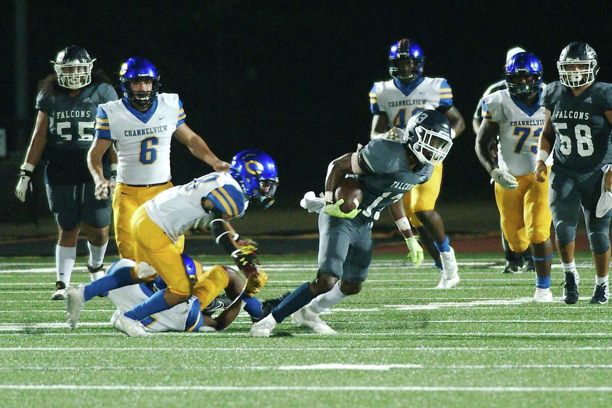 Clear Lake's Hunter Moddon (13) fights for yardage against Channelview Friday, Sep. 17, 2021 at Challenger Columbia Stadium.
