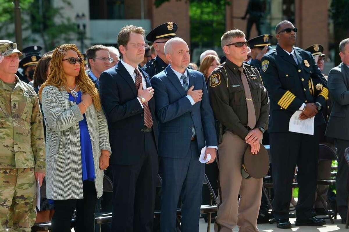 Sheriff Mark Cool participates in 9/11 ceremony in Lansing Osceola County Sheriff Mark Cool (second from right) joined Speaker of the House Jason Wentworth (third from right) for the annual Sept, 11 remembrance ceremony last week at the state Capitol in Lansing. State legislators from the Michigan House of Representatives invited first responders and military veterans and active duty servicemembers from their local communities to attend the event commemorating the 20th anniversary of Sept. 11, 2001, and honoring the first responders and members of the military who fell in the line of duty during the past year. (Submitted photo)