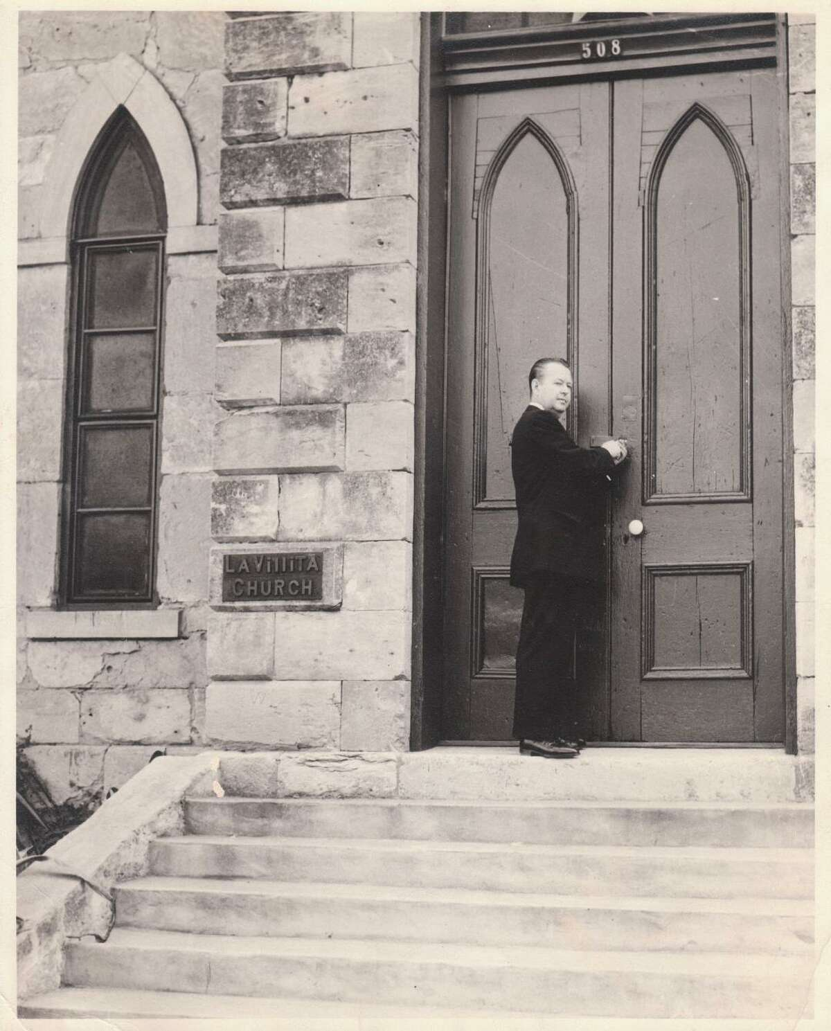 """The Rev. Paul Soupiset, shown here around the time he took possession of the La Villita church in 1957, made a career change from retail manager to minister to the city's neediest from the heart of downtown. His message of """"practical Christianity"""" appealed to others as well"""