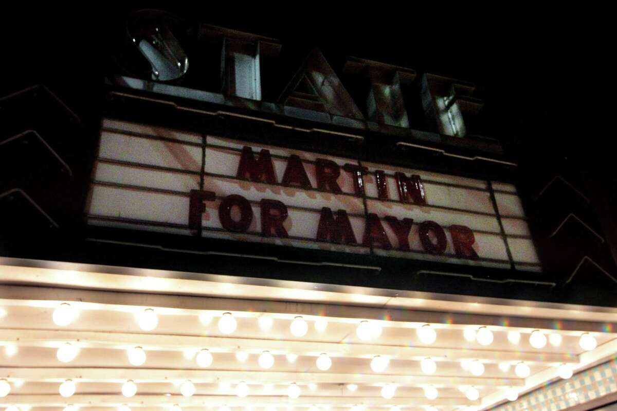 The old State Cinema on Hope St. has Mayor David Martin's name not up in lights as supporters hang out at his campaign HQ in Stamford, Conn., on Tuesday September 14, 2021. Democratic mayoral candidate Caroline Simmons won her primary against Martin, a two-term incumbent.
