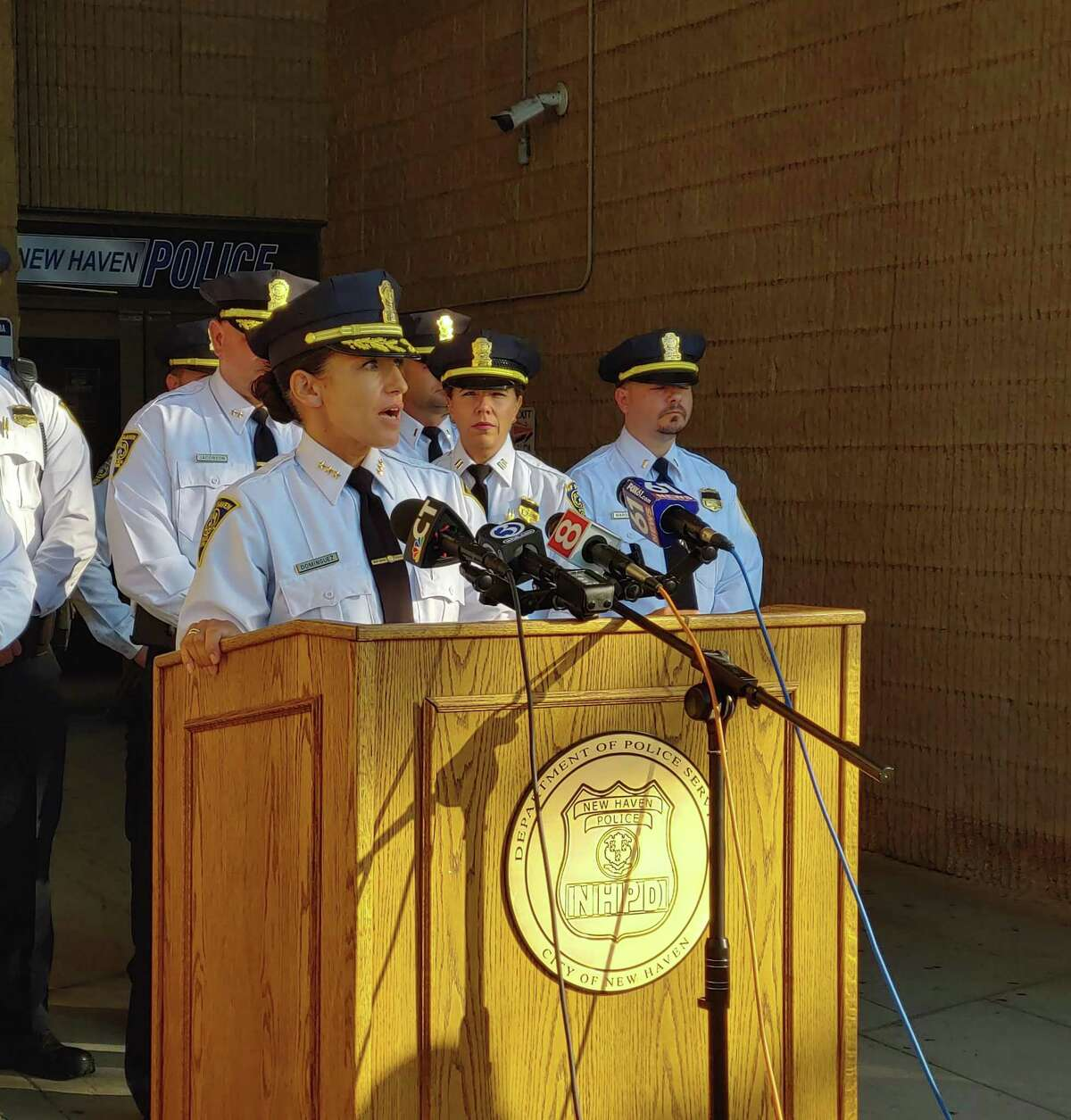 Acting New Haven Police Chief Renee Dominguez holds a press conference on Sept. 18, 2021 about a fatal car crash in Las Vegas, Nevada involving New Haven officers.