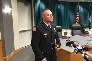 Niskayuna Police Chief Jordan Kochan after his swearing at Niskayuna Town Hall on Sept. 17, 2021.