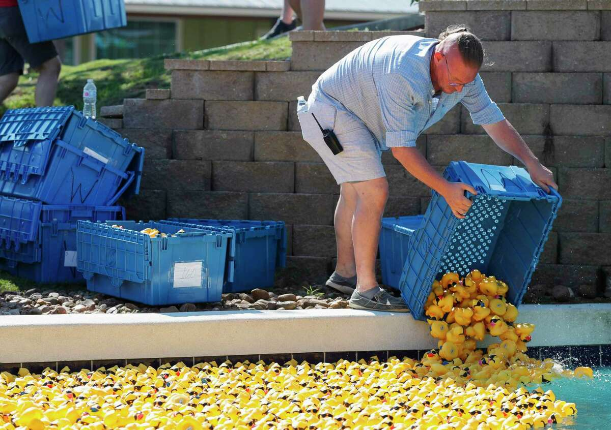A record 8,000 rubber ducks were purchased raising more than $72,000 as part of Community Assistance Center's duck race at Big Rivers Waterpark, Saturday, Sept. 18, 2021, in New Caney. The annual event raises money for the non-profit that provides resources and needs to struggling individuals and families in Montgomery County.