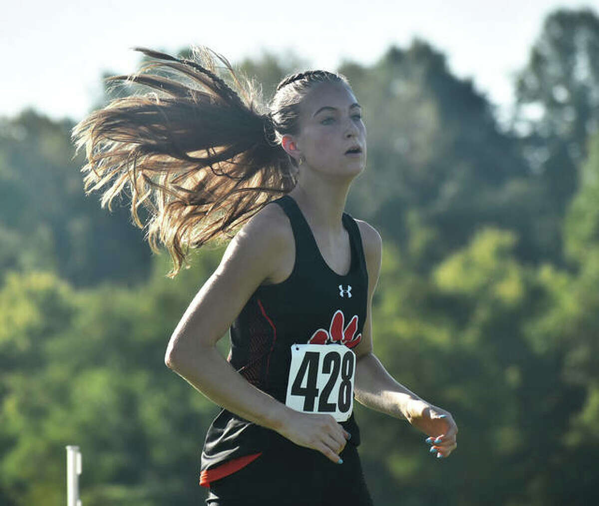 Edwardsville's Maya Lueking competes in the Edwardsville Invitational on Saturday at SIUE.